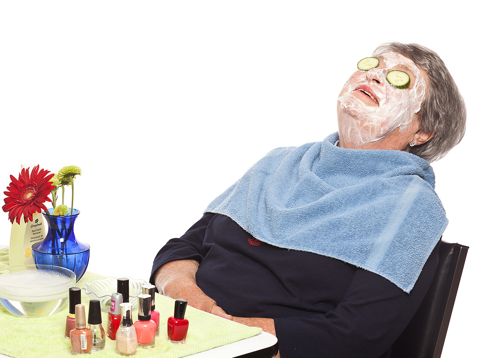Senior relaxing spa treatment